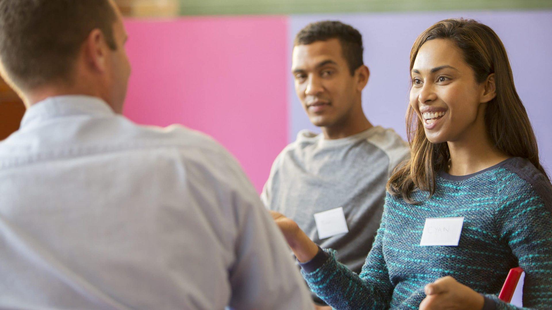 Woman speaking in meeting